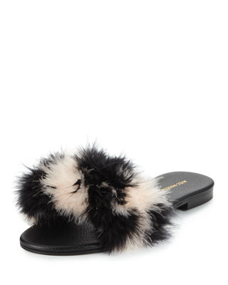 Avec Moderation Bora Bora Feather Flat Slipper Sandal