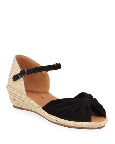 Lucille Suede Demi-Wedge Sandals