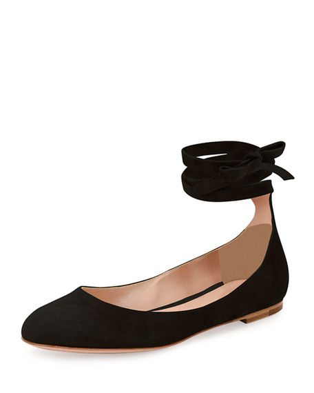 Gianvito Rossi Woman Carla Lace-up Leather Ballet Flats Navy Size 37.5 2dIgefy