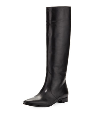 Prada Leather Flat-Heel Knee Boot