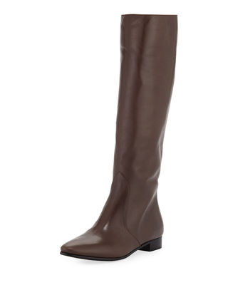Leather Flat-Heel Knee Boot