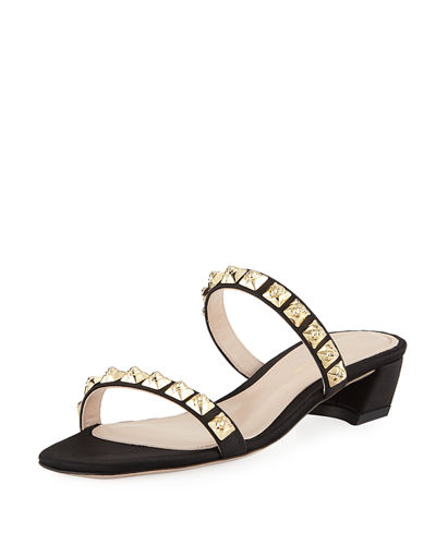Stella Studded Two-Band Block-Heel Sandal