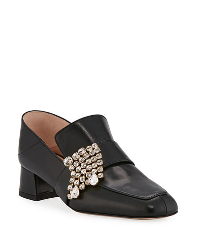 Irises Embellished Block-Heel Loafer