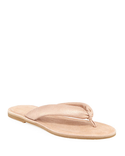 Flue Flat Metallic Leather Thong Sandals