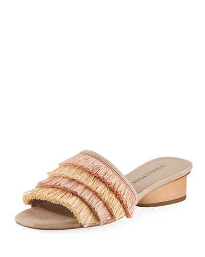 Reise Raffia Fringe Low Slide Sandals