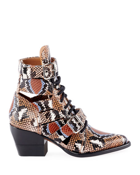 b8c9b446a Image 3 of 4  Python-Embossed Leather Combat Boots