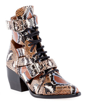 fcf1b7ddf92 Chloe Python-Embossed Leather Combat Boots