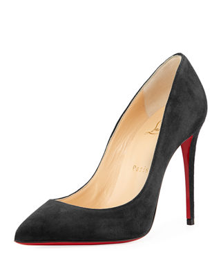 CHRISTIAN LOUBOUTIN PIGALLE FOLLIES PATENT POINTED-TOE RED SOLE PUMP, BLACK