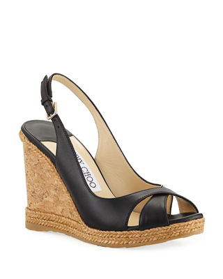 Amely 105Mm Leather Cork Wedge Sandals, Black