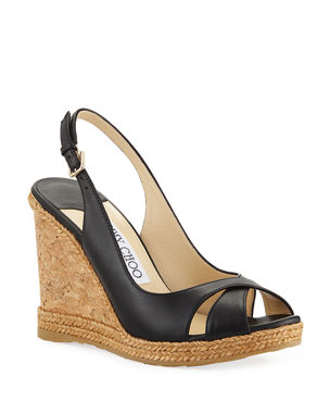 0f0707220e1c Jimmy Choo Amely 105mm Leather Cork Wedge Sandals