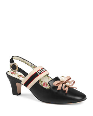 Gucci Low-Heel Slingback Pump with Bows & Logo