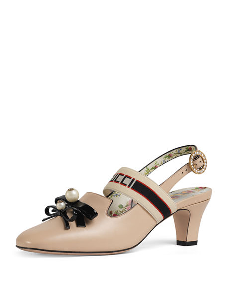 6e8ba709789 Gucci Buffy 55Mm Leather Slingback Pump In Pink