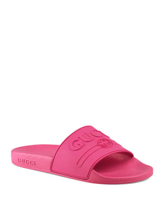 Pursuit Logo-Embossed Rubber Slides, Fuchsia