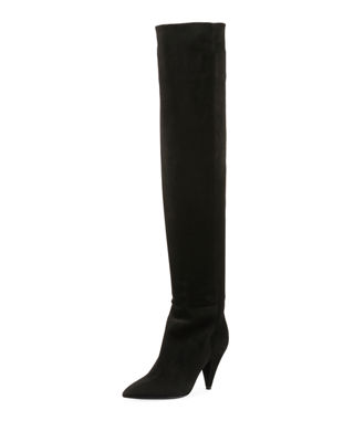 Womens Era Suede Over-The-Knee Boots Saint Laurent