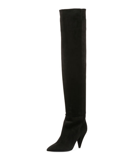 Womens Era Suede Over-The-Knee Boots Saint Laurent yFFQoTY