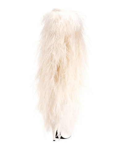 Yeti Over-The-Knee Boot with Feathers