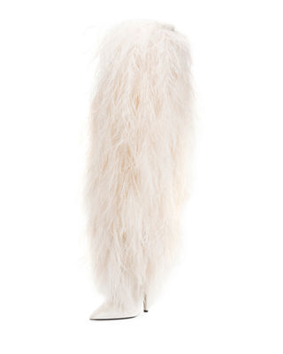 Saint Laurent Yeti Over-The-Knee Boot with Feathers