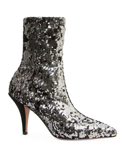 Liquid Metal Glow Sequin Booties