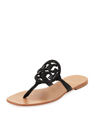 Miller Square-Toe Flat Leather Thong Sandal