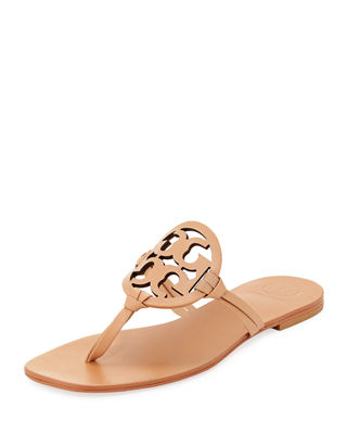 Tory Burch Miller Square-Toe Flat Leather Thong Sandal