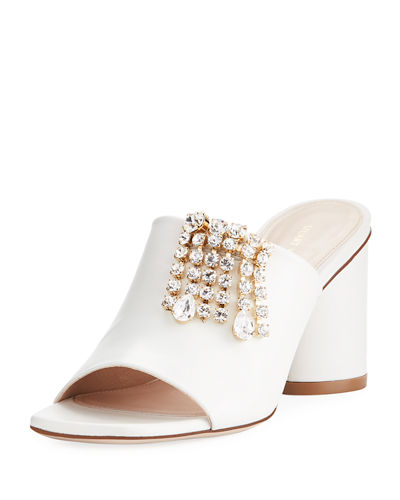 TheOne Embellished Leather Slide Sandal