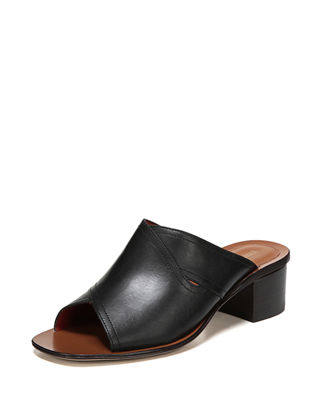 Hazel Leather Block-Heel Slide Sandal