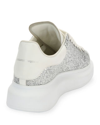 Image 3 of 3: Glitter Lace-Up Platform Sneaker