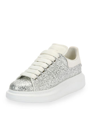 Image 1 of 3: Glitter Lace-Up Platform Sneaker
