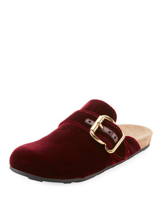Buckled Velvet Backless Loafers in Burgundy