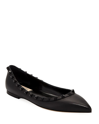 Rockstud Smooth Calf Leather Ballet Flat