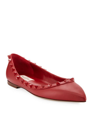 Rockstud Smooth Calf Leather Ballet Flats in Red