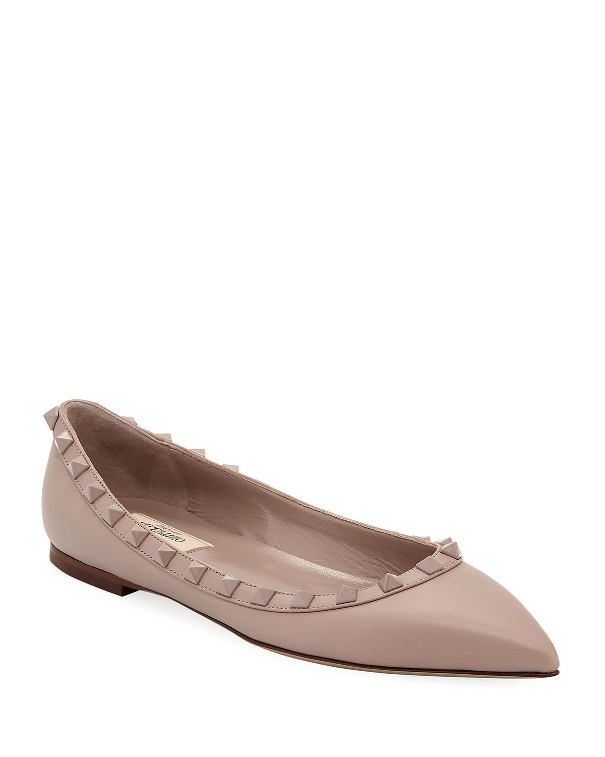 d9d3a2e54ac5 Valentino Garavani Rockstud Smooth Calf Leather Ballet Flats ...