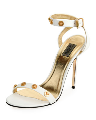 Tribute Strappy Studded Sandal, White/Gold
