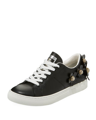 Daisy Crystal-Flower Leather Platform Sneakers in Black