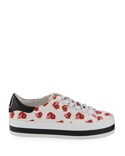 Ezra Printed Canvas Lace-Up Platform Low-Top Sneakers