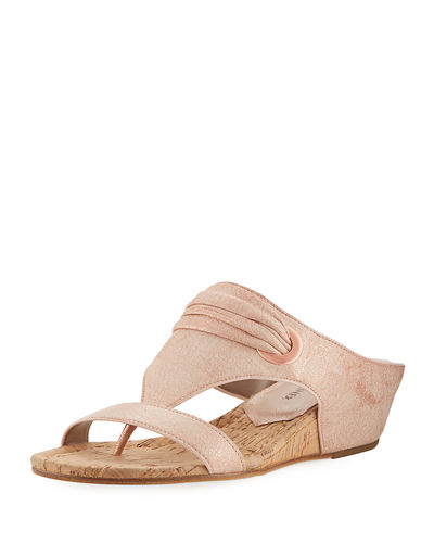 Dionne Demi-Wedge Metallic Leather Slide Sandal