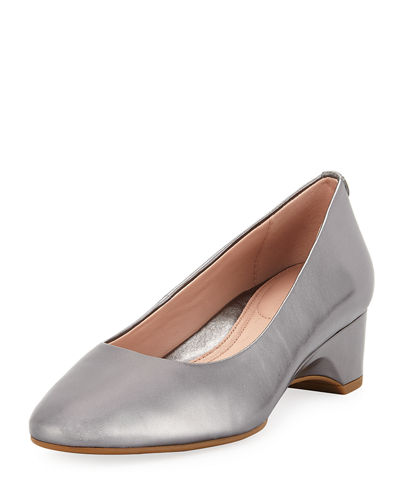Babs Metallic Leather Demi-Wedge Comfort Pump