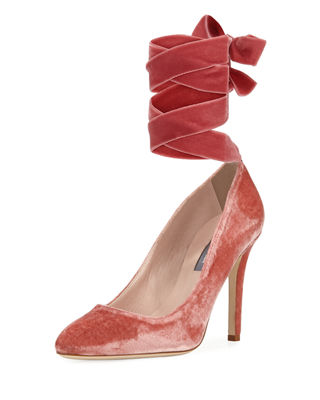 Image 1 of 4: Ania Velvet Pump with Removable Self-Tie Ribbon