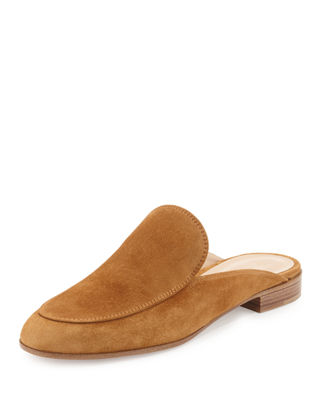 Image 1 of 3: Notched Flat Suede Mule Slide