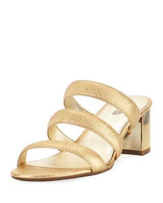 Image 1 of 4: Paloma Flex Cracked Metallic Leather Sandal