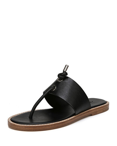 Caelan Leather Flat Sandal