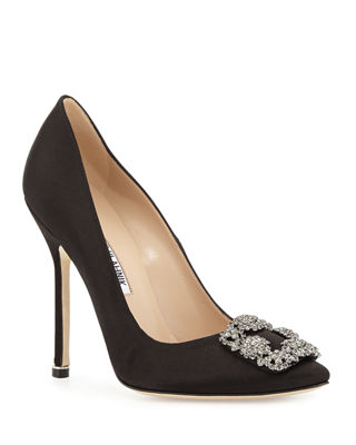 Hangisi 115mm Satin Crystal-Toe Pump
