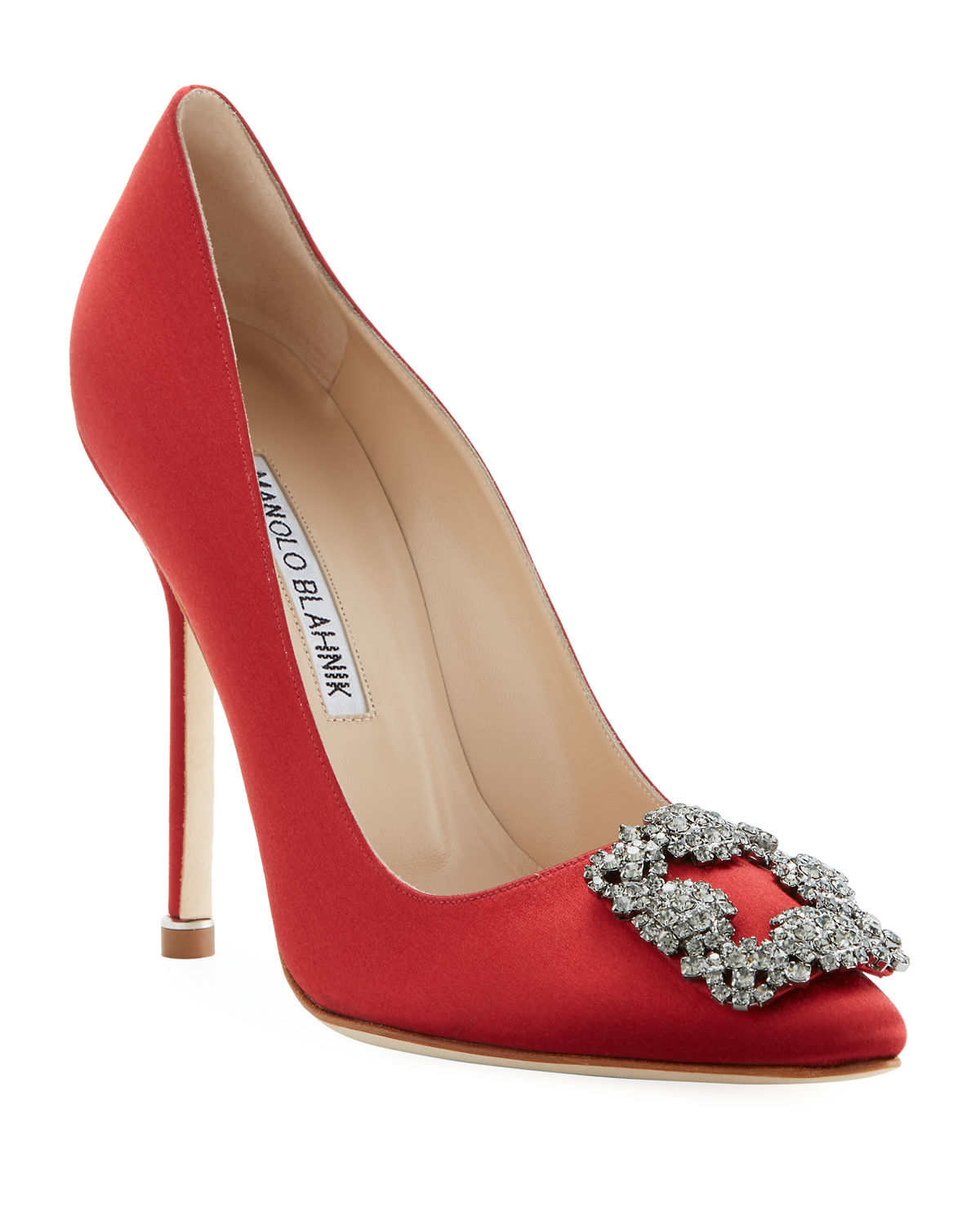 13bacf458644 Manolo Blahnik Hangisi 115mm Satin Crystal-Toe Pump