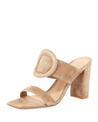 Gianvito Rossi Ring-Detail Suede 85mm Slide Sandal