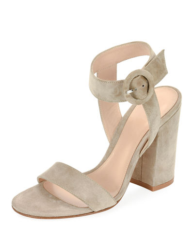 Suede Chunky-Heel Ankle-Wrap Sandal