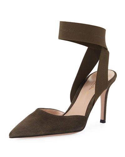 Suede And Stretch Ankle Pump