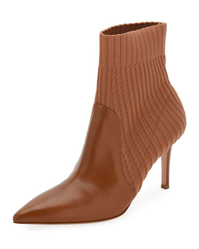 Katie 85 Leather/Knit Sock Bootie
