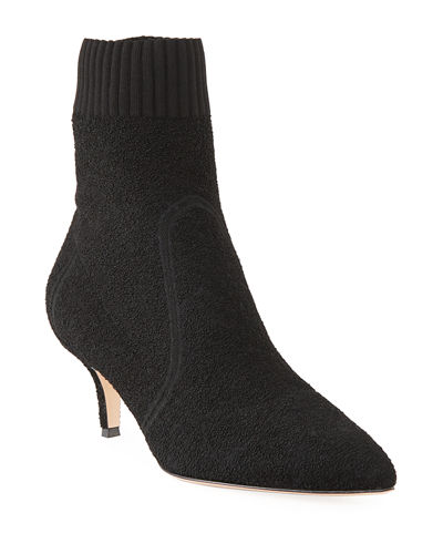 Boucle Knit Low-Heel Bootie