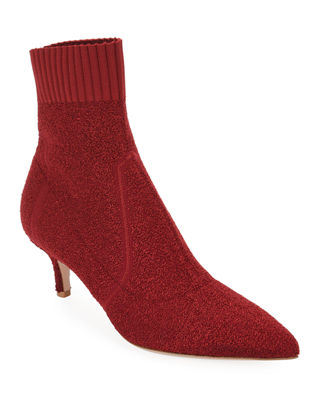Gianvito Rossi Boucle Knit Low-Heel Bootie