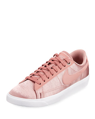 Women'S Blazer Embossed Satin & Leather Lace Up Sneakers, Rust Pink/ Rust Pink
